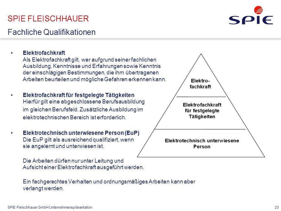 SPIE Fleischhauer GmbH Unternehmenspräsentation 23 SPIE FLEISCHHAUER Fachliche Qualifikationen Elektrofachkraft Als Elektrofachkraft gilt, wer aufgrun