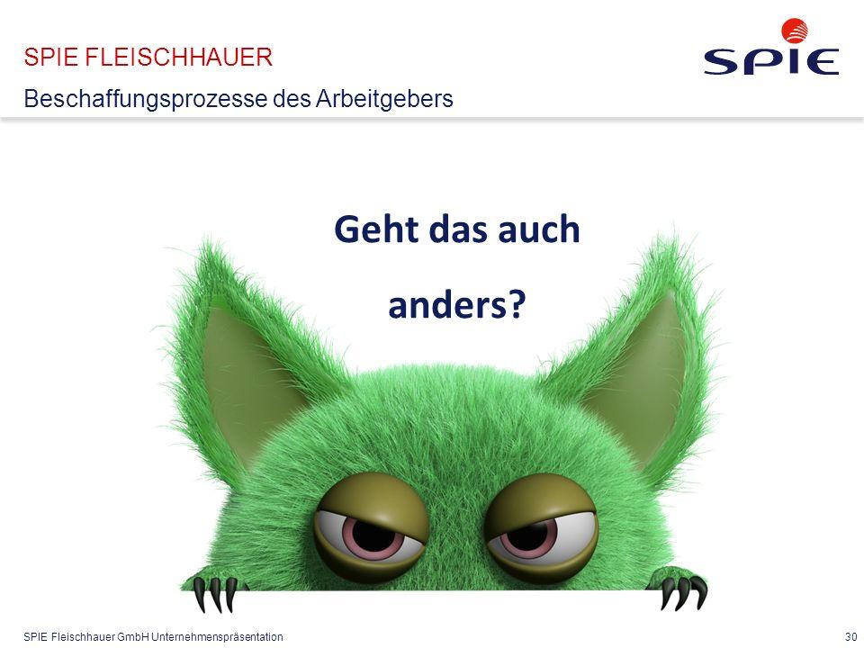 SPIE Fleischhauer GmbH Unternehmenspräsentation 30 SPIE FLEISCHHAUER Beschaffungsprozesse des Arbeitgebers Geht das auch anders?