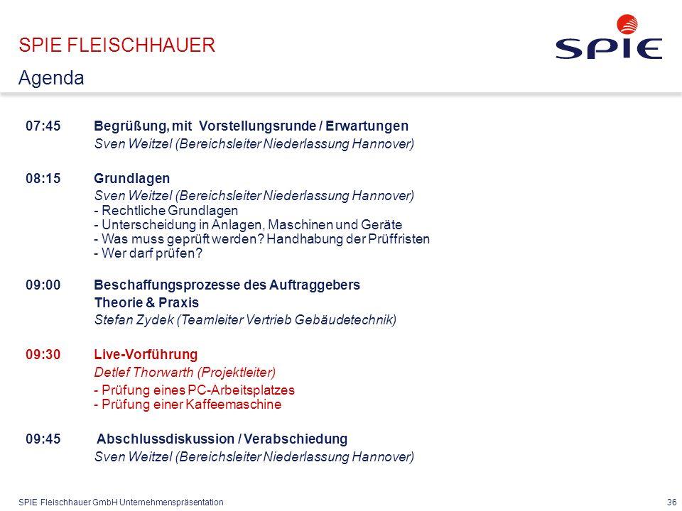 SPIE Fleischhauer GmbH Unternehmenspräsentation 36 07:45Begrüßung, mit Vorstellungsrunde / Erwartungen Sven Weitzel (Bereichsleiter Niederlassung Hann
