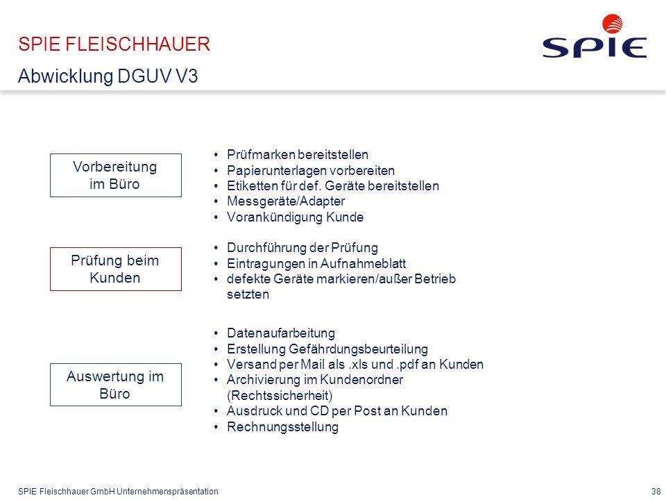 SPIE Fleischhauer GmbH Unternehmenspräsentation 38 SPIE FLEISCHHAUER Abwicklung DGUV V3 Vorbereitung im Büro Prüfmarken bereitstellen Papierunterlagen