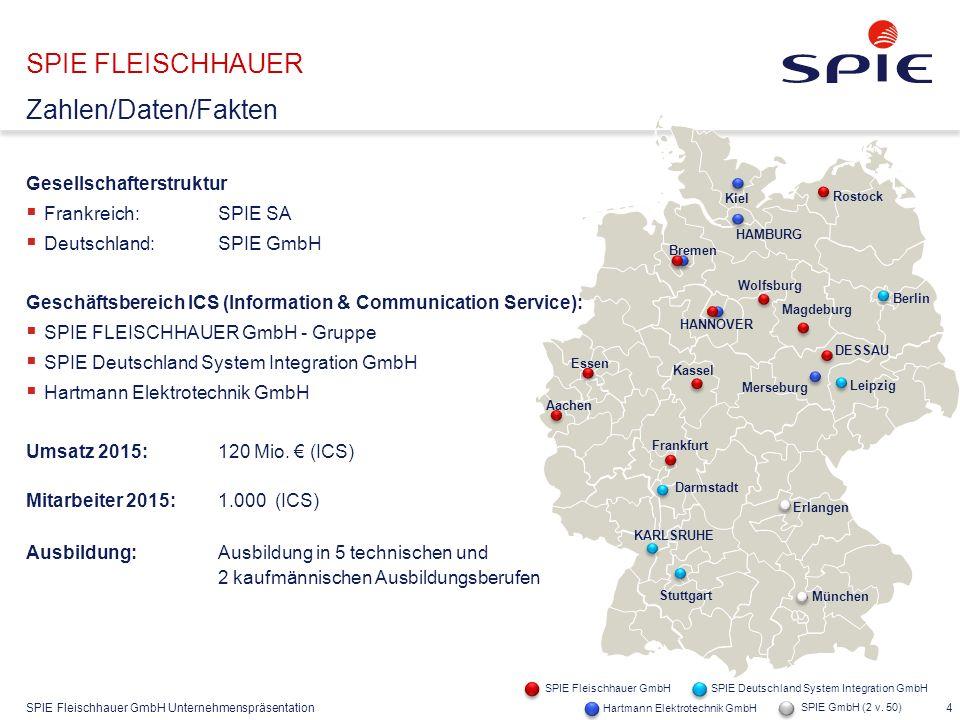 SPIE Fleischhauer GmbH Unternehmenspräsentation 4 Gesellschafterstruktur  Frankreich: SPIE SA  Deutschland:SPIE GmbH Geschäftsbereich ICS (Informati