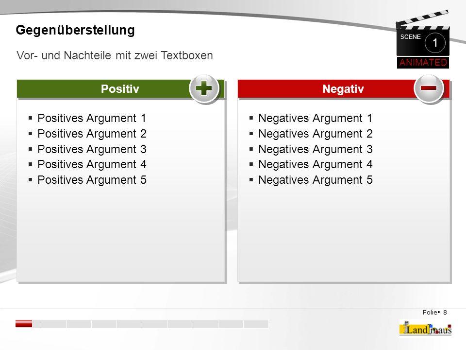 Folie  9 Kontra Pro  Negatives Argument 1  Negatives Argument 2  Negatives Argument 3  Negatives Argument 4  Negatives Argument 5  Negatives Argument 1  Negatives Argument 2  Negatives Argument 3  Negatives Argument 4  Negatives Argument 5  Positives Argument 1  Positives Argument 2  Positives Argument 3  Positives Argument 4  Positives Argument 5  Positives Argument 1  Positives Argument 2  Positives Argument 3  Positives Argument 4  Positives Argument 5 Gegenüberstellung Hier kann dein Fazit oder eine Zusammenfassung der Ergebnisse stehen.