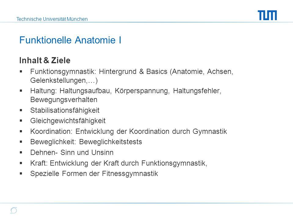 Technische Universität München Funktionelle Anatomie I Inhalt & Ziele  Funktionsgymnastik: Hintergrund & Basics (Anatomie, Achsen, Gelenkstellungen,…
