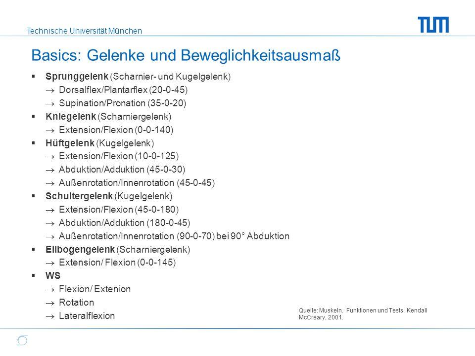 Technische Universität München Basics: Gelenke und Beweglichkeitsausmaß  Sprunggelenk (Scharnier- und Kugelgelenk)  Dorsalflex/Plantarflex (20-0-45)