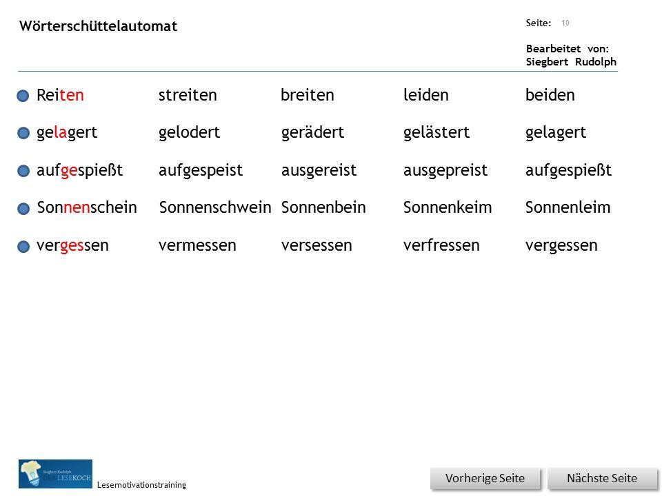 Übungsart: Seite: Bearbeitet von: Siegbert Rudolph Lesemotivationstraining Wörterschüttelautomat 10 Reitenstreitenbreitenleidenbeiden gelagertgelodert