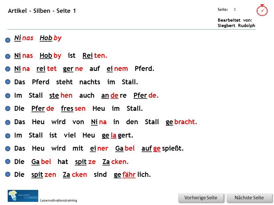 Übungsart: Seite: Bearbeitet von: Siegbert Rudolph Lesemotivationstraining 2 Artikel – Silben – Seite 1 Nächste Seite Vorherige Seite NinasHobby Ninas