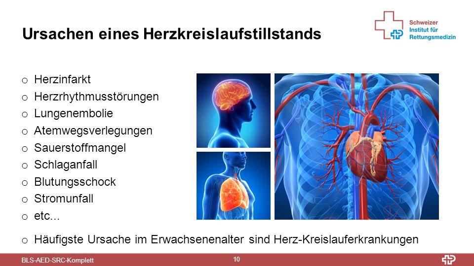 BLS-AED-SRC-Komplett 10 Ursachen eines Herzkreislaufstillstands o Herzinfarkt o Herzrhythmusstörungen o Lungenembolie o Atemwegsverlegungen o Sauerstoffmangel o Schlaganfall o Blutungsschock o Stromunfall o etc...