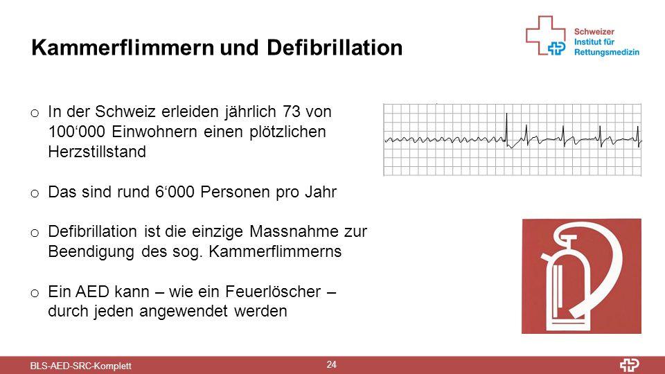 BLS-AED-SRC-Komplett 24 Kammerflimmern und Defibrillation o In der Schweiz erleiden jährlich 73 von 100'000 Einwohnern einen plötzlichen Herzstillstand o Das sind rund 6'000 Personen pro Jahr o Defibrillation ist die einzige Massnahme zur Beendigung des sog.