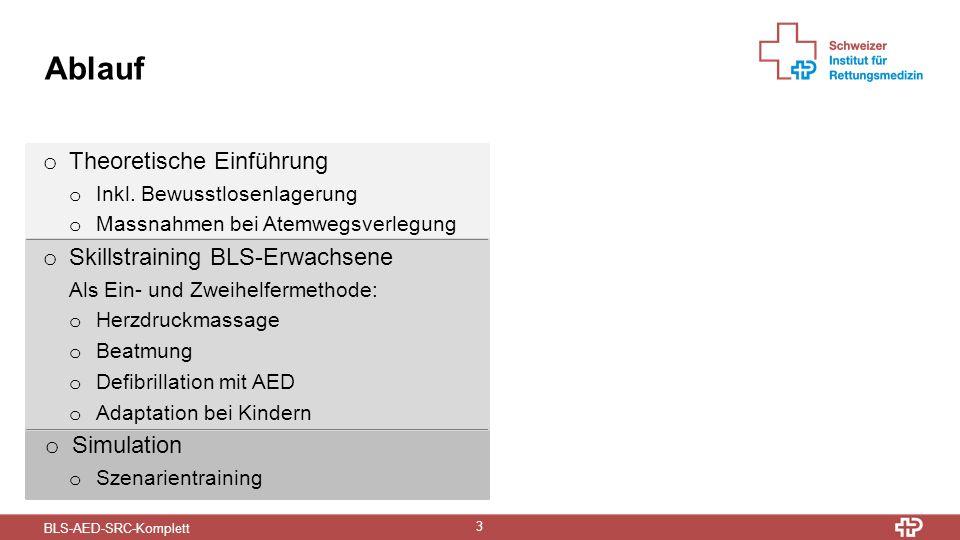 BLS-AED-SRC-Komplett 3 Ablauf o Theoretische Einführung o Inkl.
