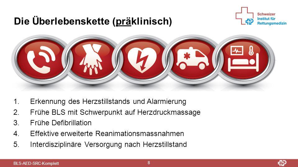 BLS-AED-SRC-Komplett 8 Die Überlebenskette (präklinisch) 1.Erkennung des Herzstillstands und Alarmierung 2.Frühe BLS mit Schwerpunkt auf Herzdruckmassage 3.Frühe Defibrillation 4.Effektive erweiterte Reanimationsmassnahmen 5.Interdisziplinäre Versorgung nach Herzstillstand