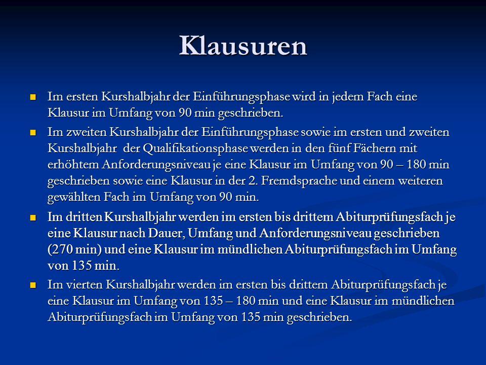 Klausuren Im ersten Kurshalbjahr der Einführungsphase wird in jedem Fach eine Klausur im Umfang von 90 min geschrieben.