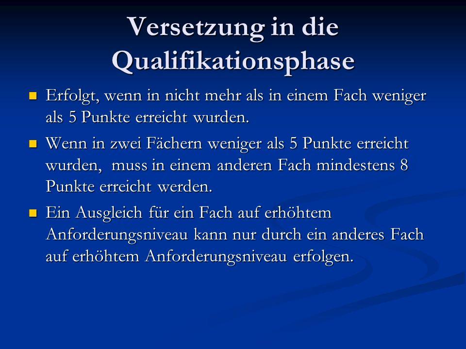 Versetzung in die Qualifikationsphase Erfolgt, wenn in nicht mehr als in einem Fach weniger als 5 Punkte erreicht wurden.