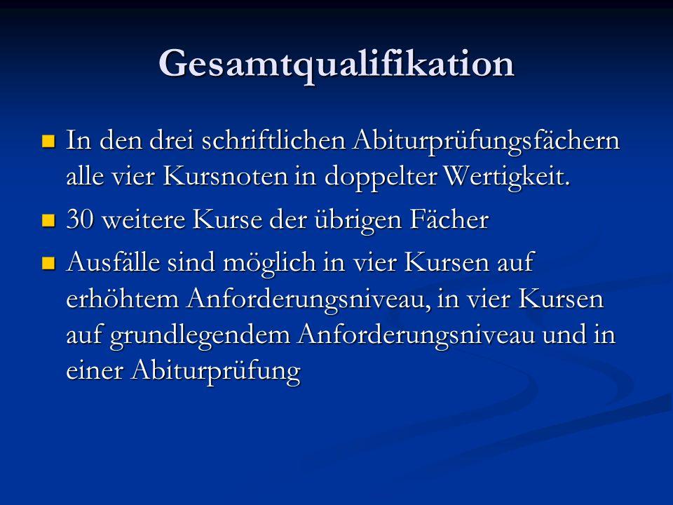 Gesamtqualifikation In den drei schriftlichen Abiturprüfungsfächern alle vier Kursnoten in doppelter Wertigkeit.
