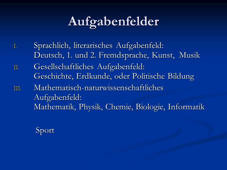 Aufgabenfelder I. Sprachlich, literarisches Aufgabenfeld: Deutsch, 1.