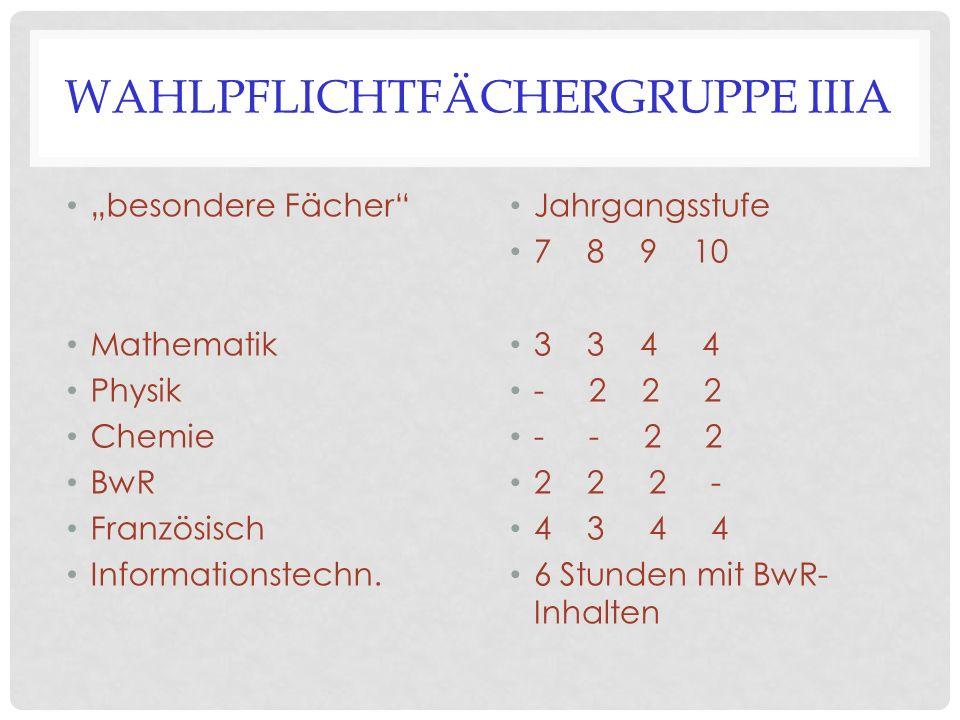 """WAHLPFLICHTFÄCHERGRUPPE IIIA """"besondere Fächer"""" Mathematik Physik Chemie BwR Französisch Informationstechn. Jahrgangsstufe 7 8 9 10 3 3 4 4 - 2 2 2 -"""