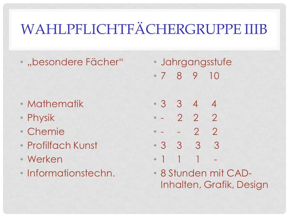 """WAHLPFLICHTFÄCHERGRUPPE IIIB """"besondere Fächer"""" Mathematik Physik Chemie Profilfach Kunst Werken Informationstechn. Jahrgangsstufe 7 8 9 10 3 3 4 4 -"""