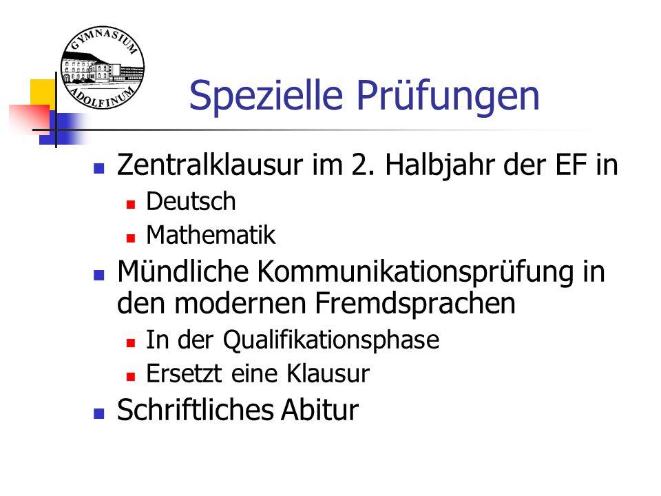 Spezielle Prüfungen Zentralklausur im 2.