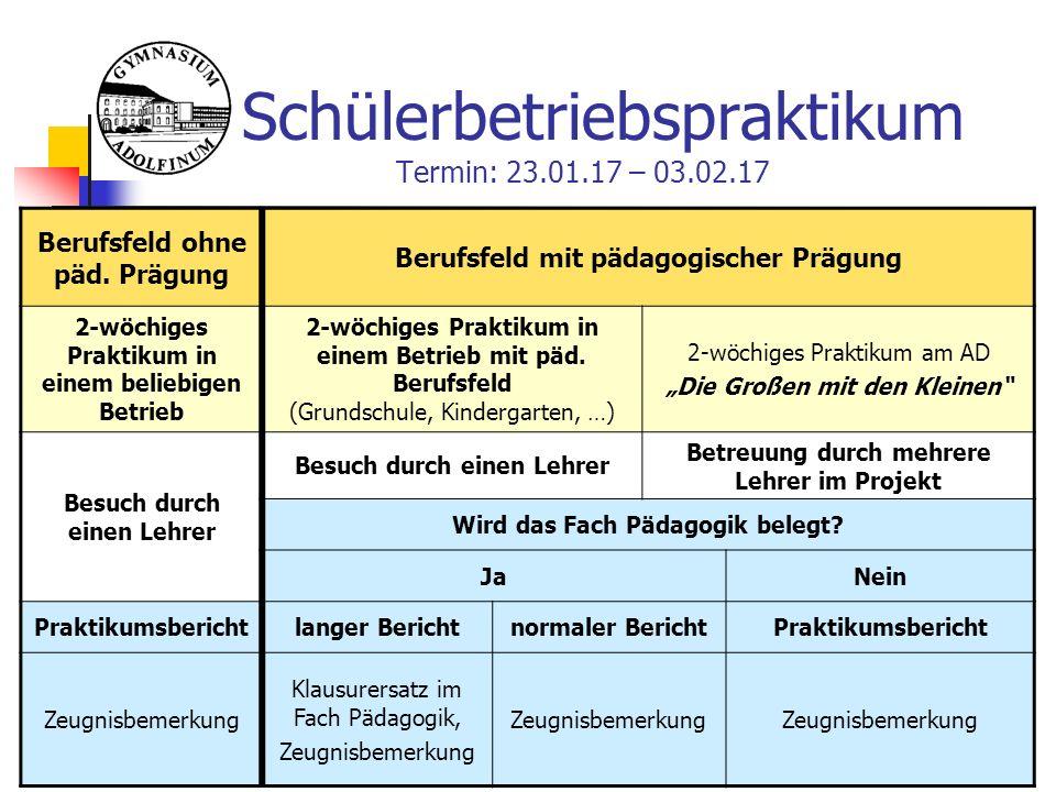 Schülerbetriebspraktikum Termin: 23.01.17 – 03.02.17 Berufsfeld ohne päd.