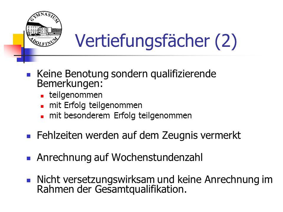 EF - Belegverpflichtung  Jedes Fach wird 3-stündig unterrichtet, Ausnahmen:  Neue Fremdsprachen(4 WStd.)  Vertiefungsfächer(3 WStd.)  Keine Neuwahl von Fächern nach der EF.1  Fachwechsel nur im Vertiefungsfach möglich Thorsten Klag, StD (Oberstufenkoordinator) 10 Grundkurse 11.