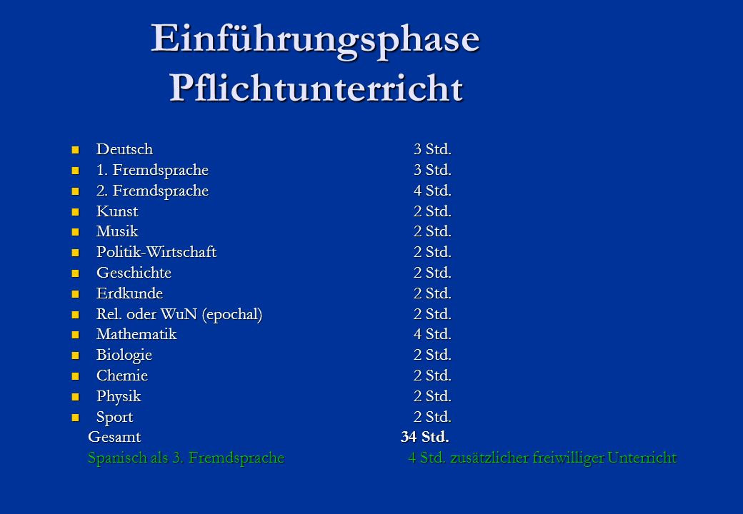 Einführungsphase Pflichtunterricht Deutsch 3 Std. Deutsch 3 Std.