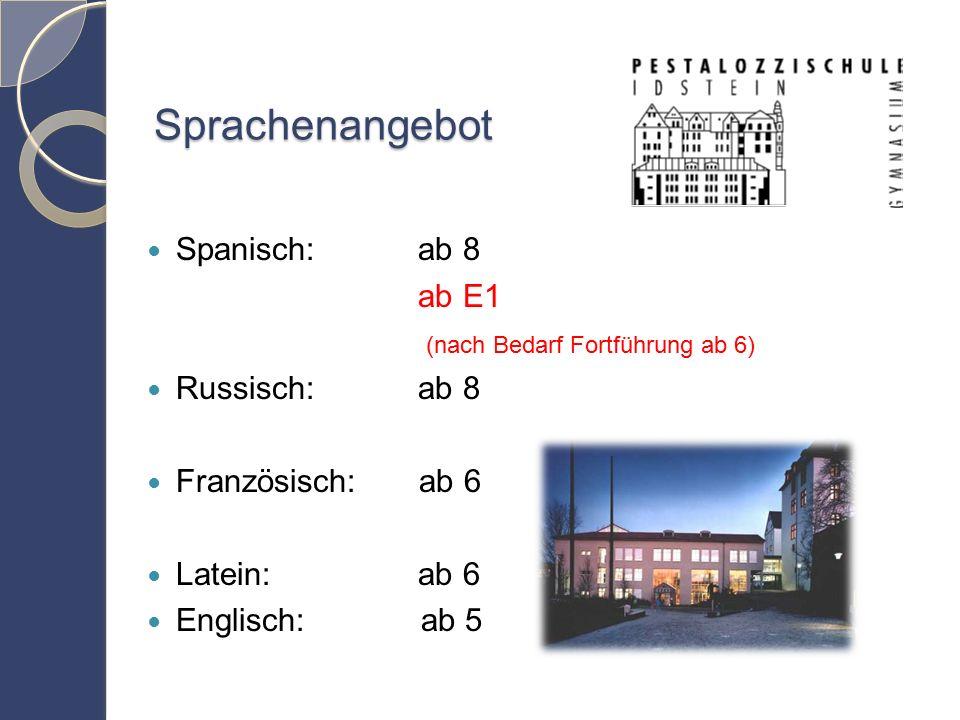 Sprachenangebot Spanisch: ab 8 ab E1 (nach Bedarf Fortführung ab 6) Russisch: ab 8 Französisch: ab 6 Latein: ab 6 Englisch: ab 5