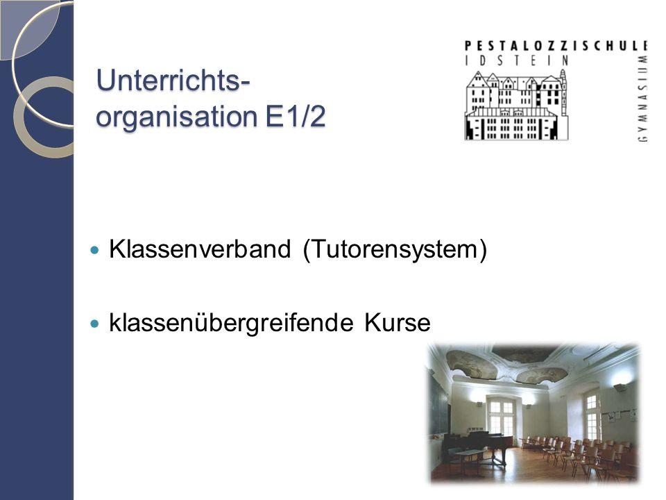 Unterrichts- organisation E1/2 Klassenverband (Tutorensystem) klassenübergreifende Kurse