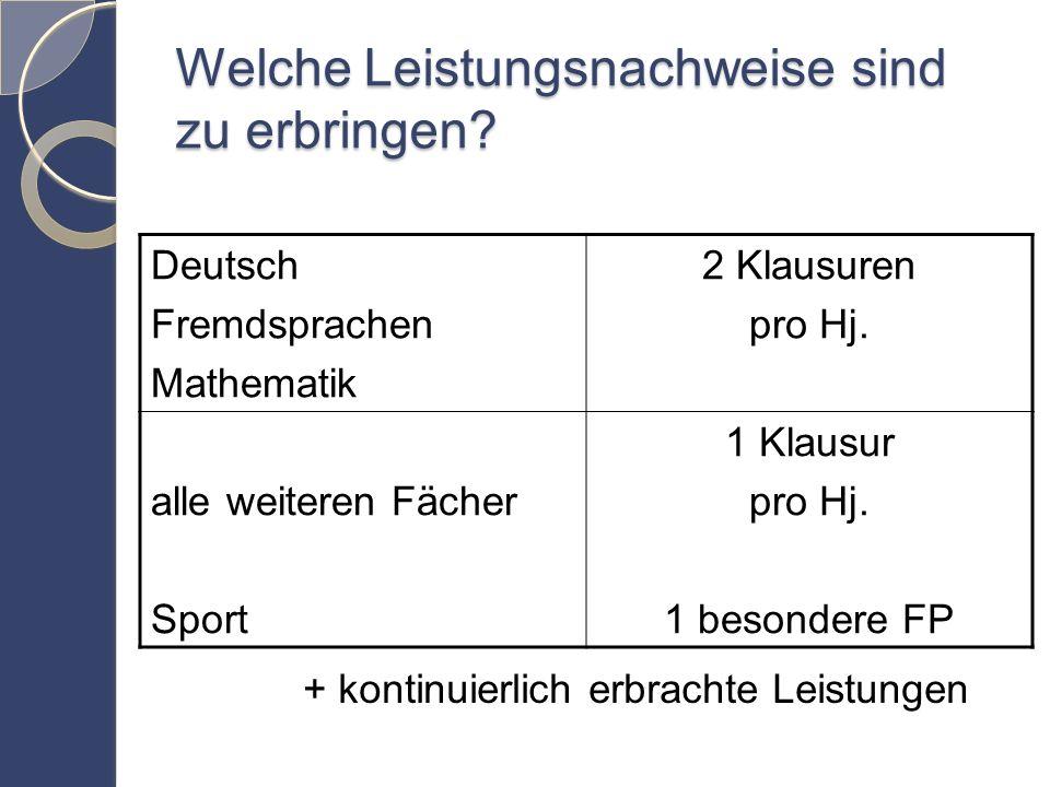 Welche Leistungsnachweise sind zu erbringen. Deutsch Fremdsprachen Mathematik 2 Klausuren pro Hj.