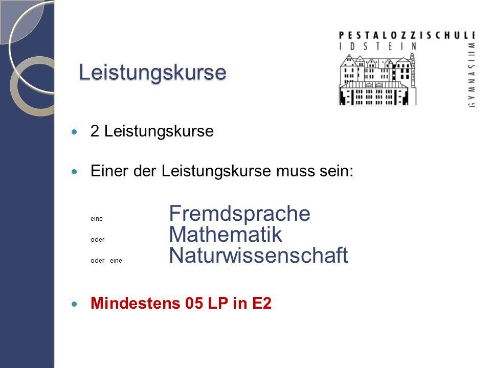 Leistungskurse 2 Leistungskurse Einer der Leistungskurse muss sein: eine Fremdsprache oder Mathematik oder eine Naturwissenschaft Mindestens 05 LP in E2