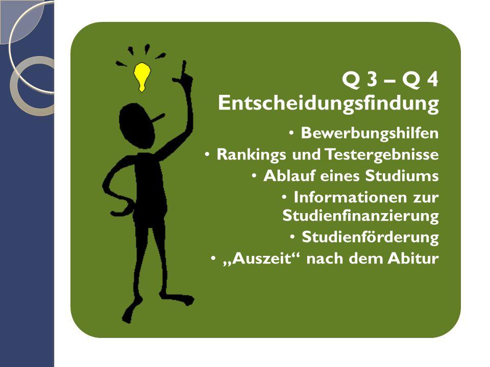 """Q 3 – Q 4 Entscheidungsfindung Bewerbungshilfen Rankings und Testergebnisse Ablauf eines Studiums Informationen zur Studienfinanzierung Studienförderung """"Auszeit nach dem Abitur"""