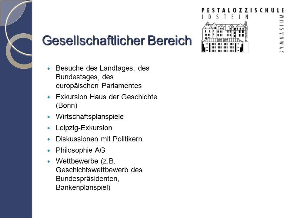 Gesellschaftlicher Bereich Besuche des Landtages, des Bundestages, des europäischen Parlamentes Exkursion Haus der Geschichte (Bonn) Wirtschaftsplanspiele Leipzig-Exkursion Diskussionen mit Politikern Philosophie AG Wettbewerbe (z.B.