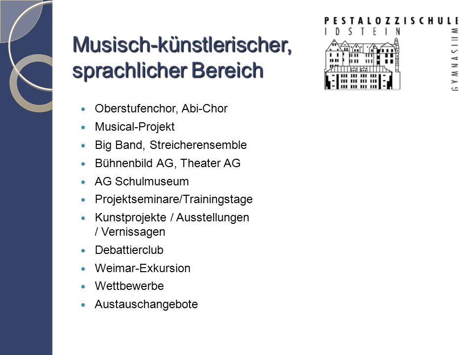 Musisch-künstlerischer, sprachlicher Bereich Oberstufenchor, Abi-Chor Musical-Projekt Big Band, Streicherensemble Bühnenbild AG, Theater AG AG Schulmuseum Projektseminare/Trainingstage Kunstprojekte / Ausstellungen / Vernissagen Debattierclub Weimar-Exkursion Wettbewerbe Austauschangebote