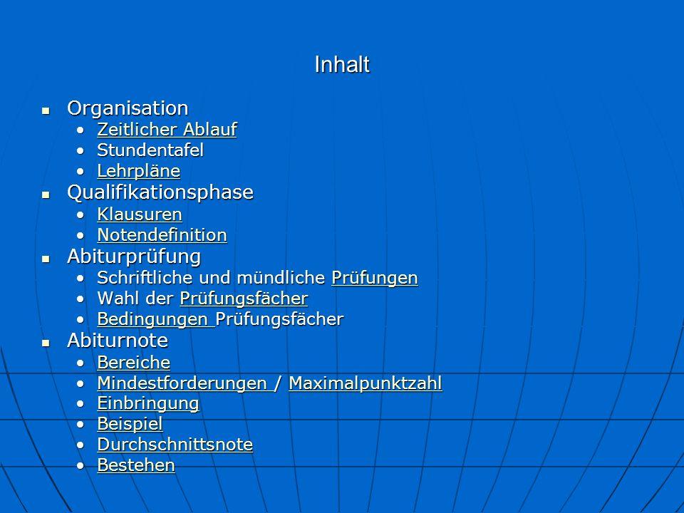 Bilinguales Abitur an der LuO Organisation : Zeitlicher Ablauf Organisation 11.