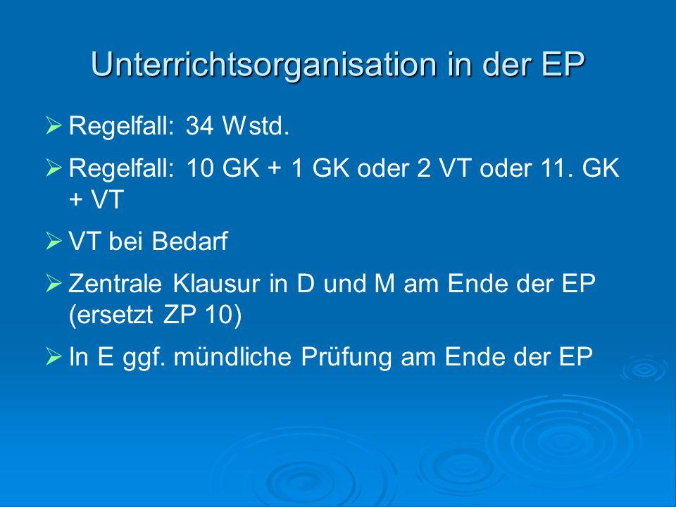 Unterrichtsorganisation in der EP  Regelfall: 34 Wstd.