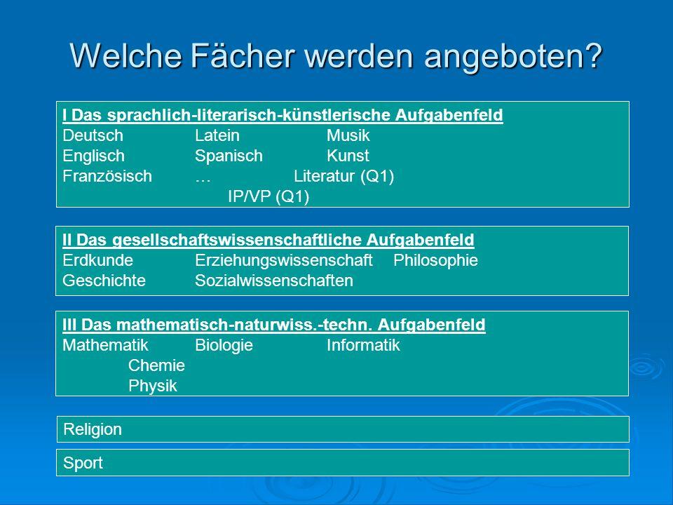 Welche Fächer werden angeboten. III Das mathematisch-naturwiss.-techn.
