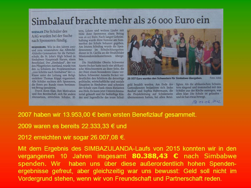 2007 haben wir 13.953,00 € beim ersten Benefizlauf gesammelt. 2009 waren es bereits 22.333,33 € und 2012 erreichten wir sogar 26.007,08 €. Mit dem Erg