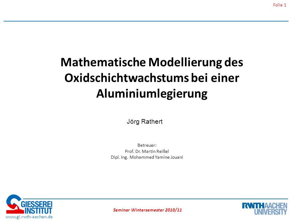 Seminar Wintersemester 2010/11 Folie 12 www.gi.rwth-aachen.de Oxidation bei Al-Mg Legierungen Grundlagen der Oxidation / Aluminium und Oxidation Model der Oxidschichtbildung bei einer AlMg Legierung (0,17% Mg).