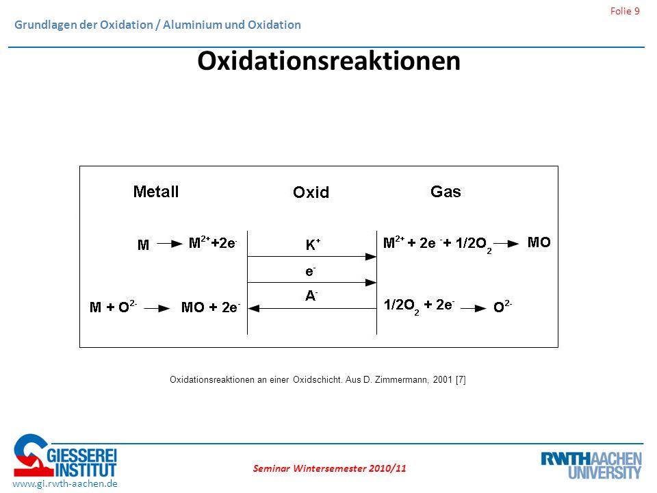 Seminar Wintersemester 2010/11 Folie 9 www.gi.rwth-aachen.de Oxidationsreaktionen Oxidationsreaktionen an einer Oxidschicht.
