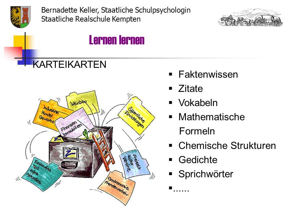  Faktenwissen  Zitate  Vokabeln  Mathematische Formeln  Chemische Strukturen  Gedichte  Sprichwörter ......
