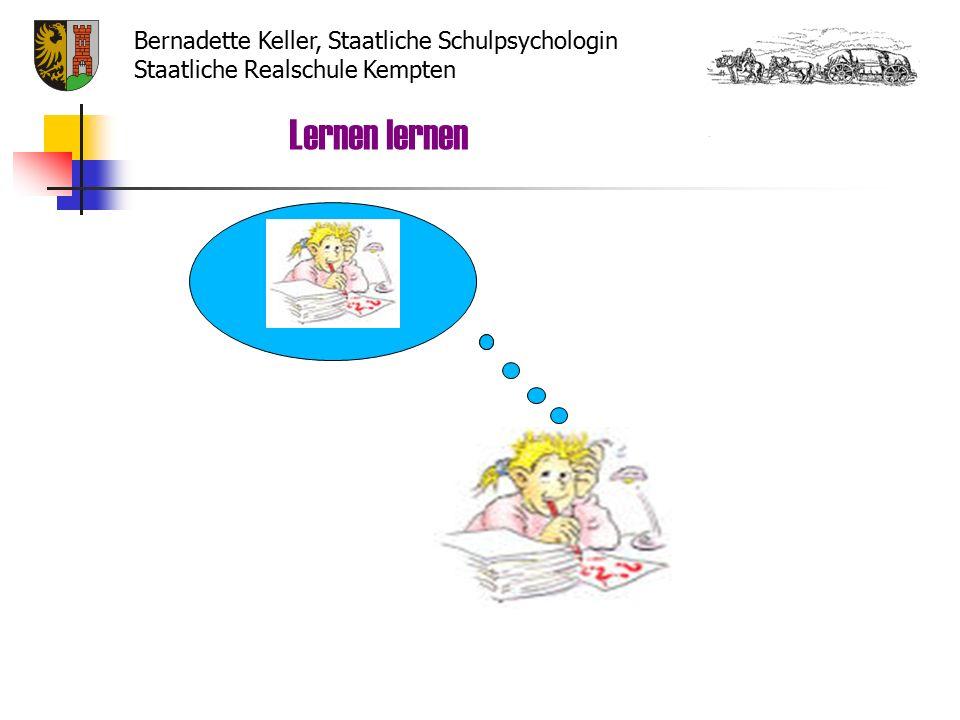 Hausaufgaben  Planen (Lernzeit, Reihenfolge)  Abwechslung zwischen schriftlichen und mündlichen Aufgaben  Pausen einlegen  Unterstützung  Überprüfung (Selbst – und Fremdkontrolle) Lernen lernen Bernadette Keller, Staatliche Schulpsychologin Staatliche Realschule Kempten