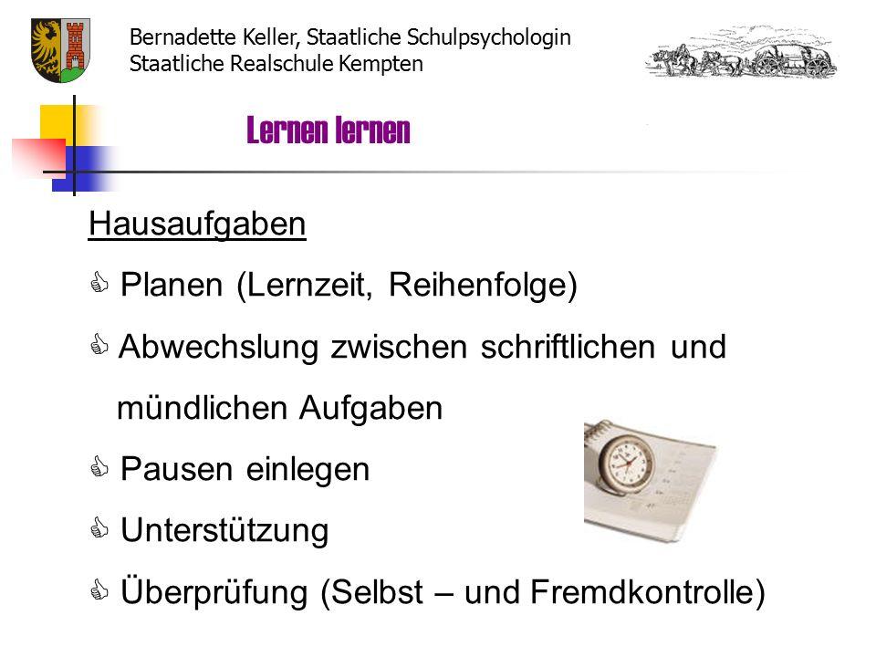 Lernen lernen Bernadette Keller, Staatliche Schulpsychologin Staatliche Realschule Kempten Lerntypen