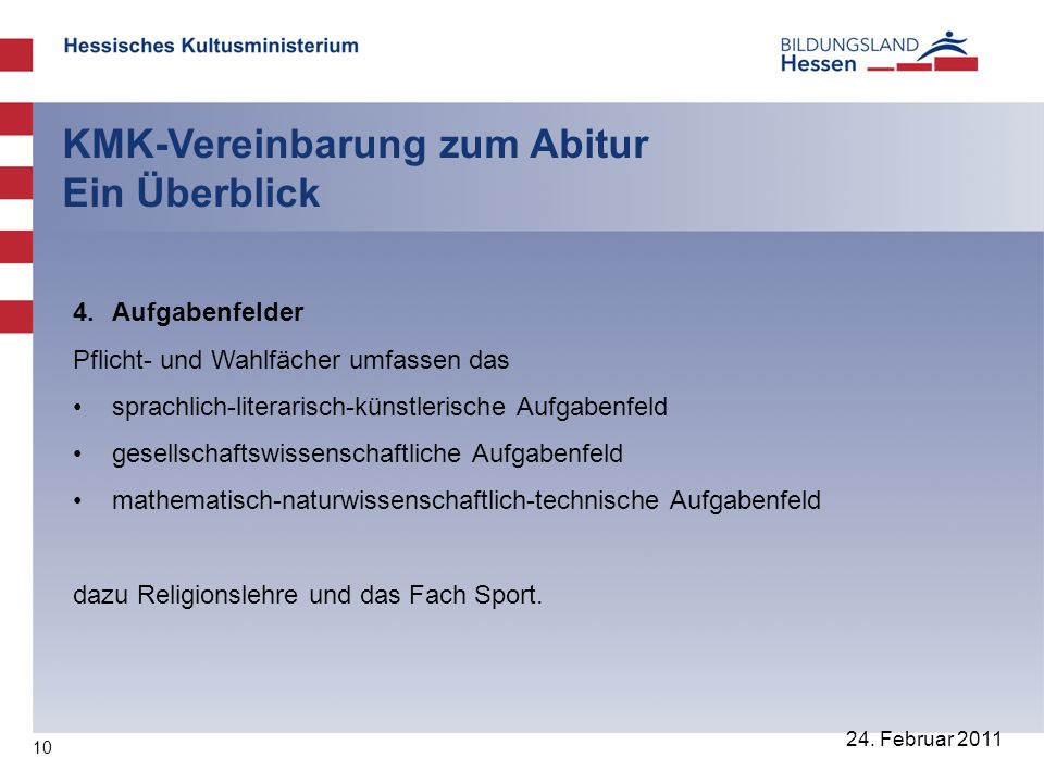 10 24. Februar 2011 KMK-Vereinbarung zum Abitur Ein Überblick 4. Aufgabenfelder Pflicht- und Wahlfächer umfassen das sprachlich-literarisch-künstleris
