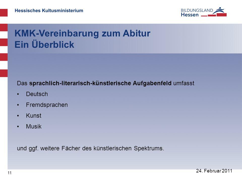 11 24. Februar 2011 KMK-Vereinbarung zum Abitur Ein Überblick Das sprachlich-literarisch-künstlerische Aufgabenfeld umfasst Deutsch Fremdsprachen Kuns