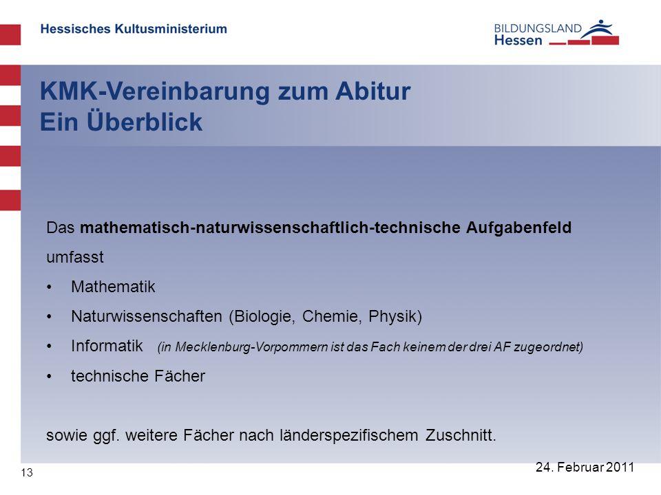 13 24. Februar 2011 KMK-Vereinbarung zum Abitur Ein Überblick Das mathematisch-naturwissenschaftlich-technische Aufgabenfeld umfasst Mathematik Naturw