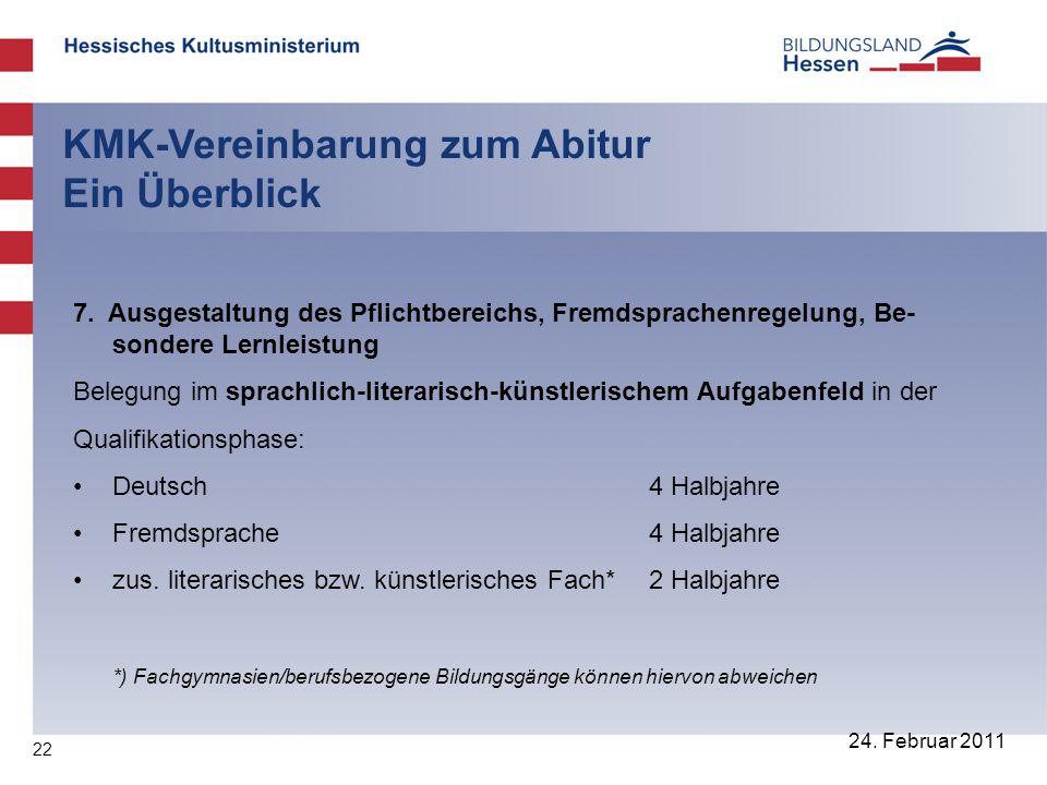 22 24. Februar 2011 KMK-Vereinbarung zum Abitur Ein Überblick 7. Ausgestaltung des Pflichtbereichs, Fremdsprachenregelung, Be- sondere Lernleistung Be