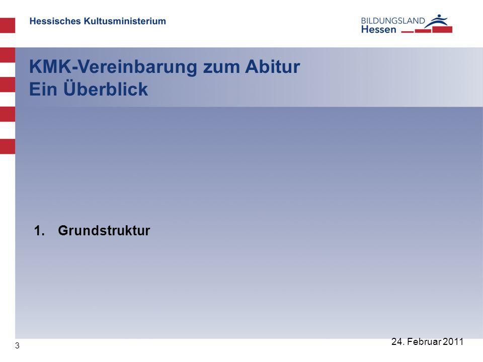 3 24. Februar 2011 KMK-Vereinbarung zum Abitur Ein Überblick 1. Grundstruktur