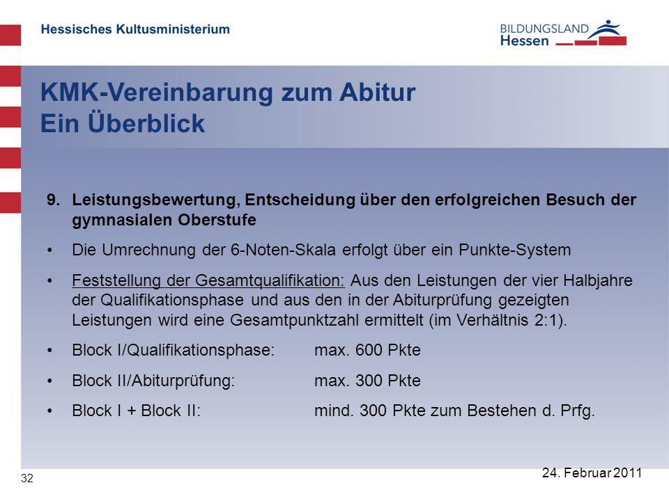 32 24. Februar 2011 KMK-Vereinbarung zum Abitur Ein Überblick 9. Leistungsbewertung, Entscheidung über den erfolgreichen Besuch der gymnasialen Oberst