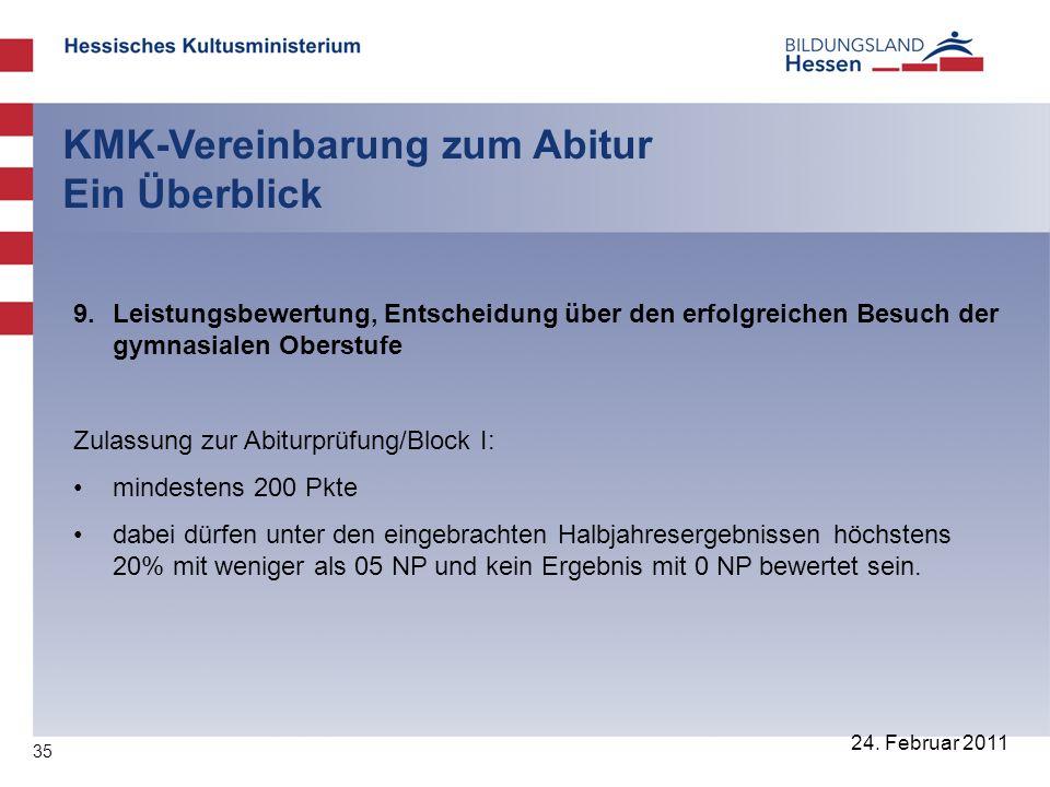35 24. Februar 2011 KMK-Vereinbarung zum Abitur Ein Überblick 9. Leistungsbewertung, Entscheidung über den erfolgreichen Besuch der gymnasialen Oberst