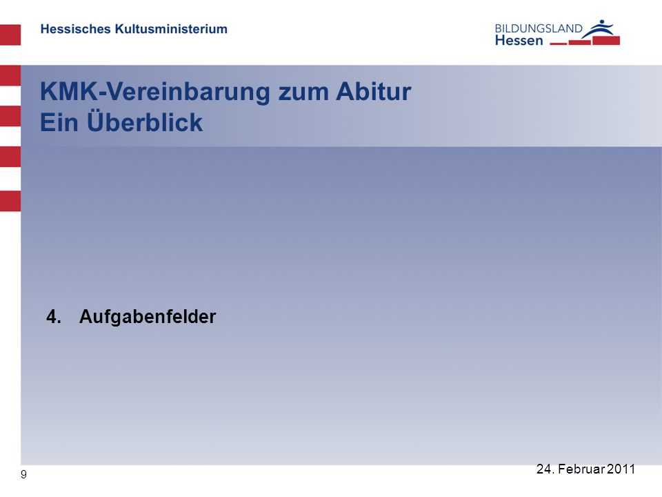 40 24.Februar 2011 KMK-Vereinbarung zum Abitur Ein Überblick 12.