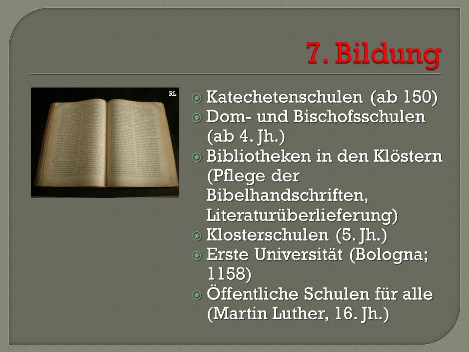  Katechetenschulen (ab 150)  Dom- und Bischofsschulen (ab 4. Jh.)  Bibliotheken in den Klöstern (Pflege der Bibelhandschriften, Literaturüberliefer