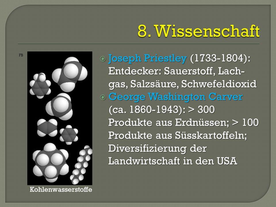  Joseph Priestley (1733-1804): Entdecker: Sauerstoff, Lach- gas, Salzsäure, Schwefeldioxid  George Washington Carver (ca. 1860-1943): > 300 Produkte